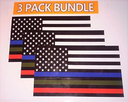 MILITARY STICKER, POLICE DECALS American Flag Sticker Blue Green and Red stripe for cars trucks to honor and support our TROOPS, POLICE, FIRE / EMT - - 3 in one sticker -- 5 x 3 inch - 3 pack