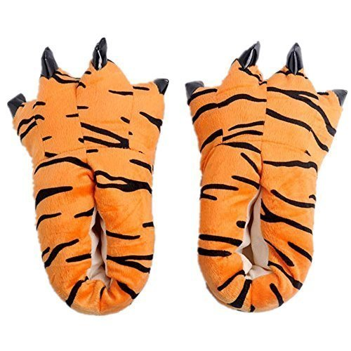 Japsom Unisex Cozy House Monster Slippers Halloween Animal Costume Paw Claw Shoes Tiger Stripe L