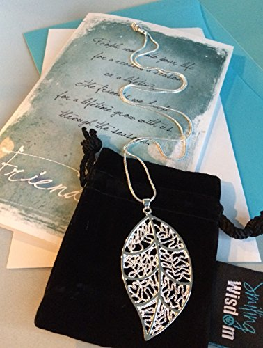 Smiling Wisdom Silver Leaf Friendship Gift Set - Reason Season Lifetime Friendship Greeting Card - Sweater Necklace Leaf Pendant Sentiment - For Good or Best Friend - Pendant: 2.25x1.5, 24
