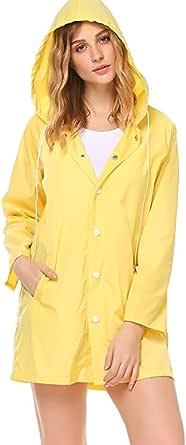 Women Raincoats Waterproof Lightweight Rain Jacket Outdoor Sunscreen Hooded Coat