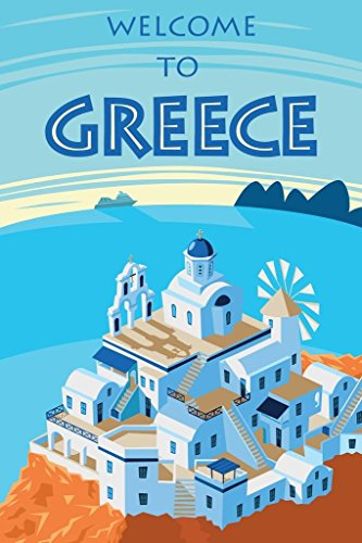 Welcome to Greece Retro Travel Art Poster 24x36 inch