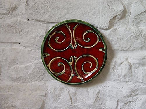 Red and Green Wall Hanging Plate, Pottery Wall Decor, Wheel Thrown Ceramic Plate with Floral Decoration, Fireplace Decor, Unique Art Pottery (Pottery Place)
