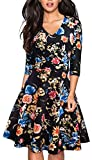 HOMEYEE Women's Chic V-Neck Lace Patchwork Flare Party Dress A062 (6, Flower)