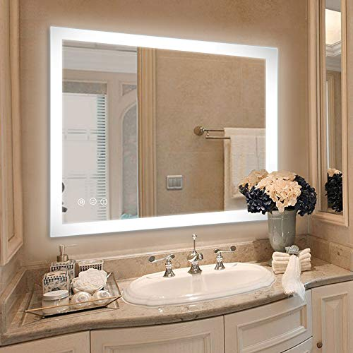 LED Lighted Vanity Bathroom Mirror, Wall Mounted + Anti Fog & Dimmer -