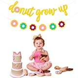 (Set of 2) JeVenis Glitter Donut Grow Up Banner Donut Banner Party Garland for Kids Birthday Party Decorations