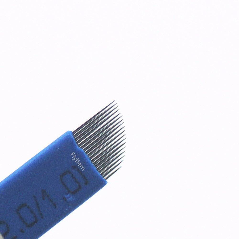 FlyItem 50Pcs Blue Curved 18Pin Professional Permanent Makeup Manual Eyebrow Tattoo Needles Blade For 3D Embroidery Microblading Tattoo Pen Machine (18 Pin)