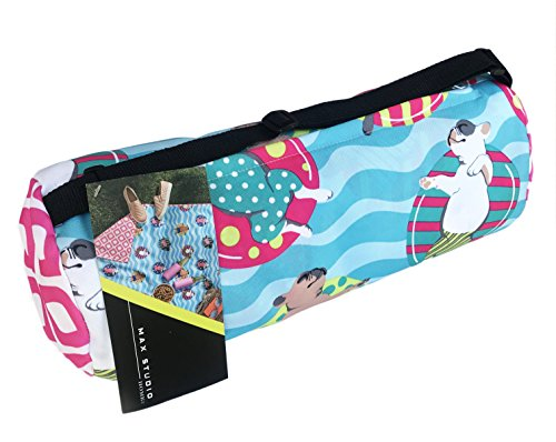 Max Studio Outdoor Reversible Picnic Blanket in Rolled Cloth Shoulder Bag - Cute French Bulldogs in Pool Floats Print by Max Studio