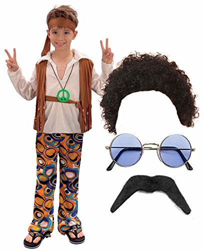 Boys Girls 60S 70S Hippy Fancy Dress Costume Outfit Wig Glasses Tash Age -