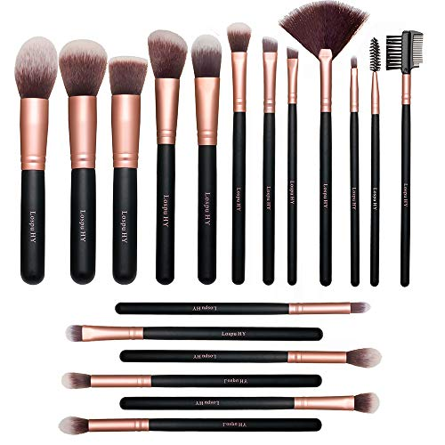 18-Piece Rose Golden Makeup Brushes Wood Handle Kabuki Makeup Brush Set Premium Synthetic Kabuki Foundation Blending Face Powder Blush Concealer Contour Eyeshadow Makeup Brush Brochas De Maquillaje