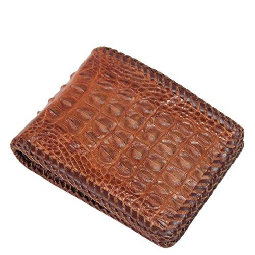 Genuine Crocodile Alligator Skin Leather Man Bifold Wallet, Red Brown