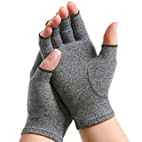 Pivit Arthritis Gloves | Compression Glove for Rheumatoid, Osteoarthritis | Heat Hand Gloves for Computer Typing, Arthritic Joint Pain Relief, Carpal Tunnel | Men, Women | Open Finger Thumb (Large)