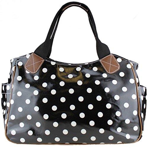 Black Fashion Polka Spot Oilcloth Ladies Dot amp; Tote White Matte Handbag dCWTcqzq