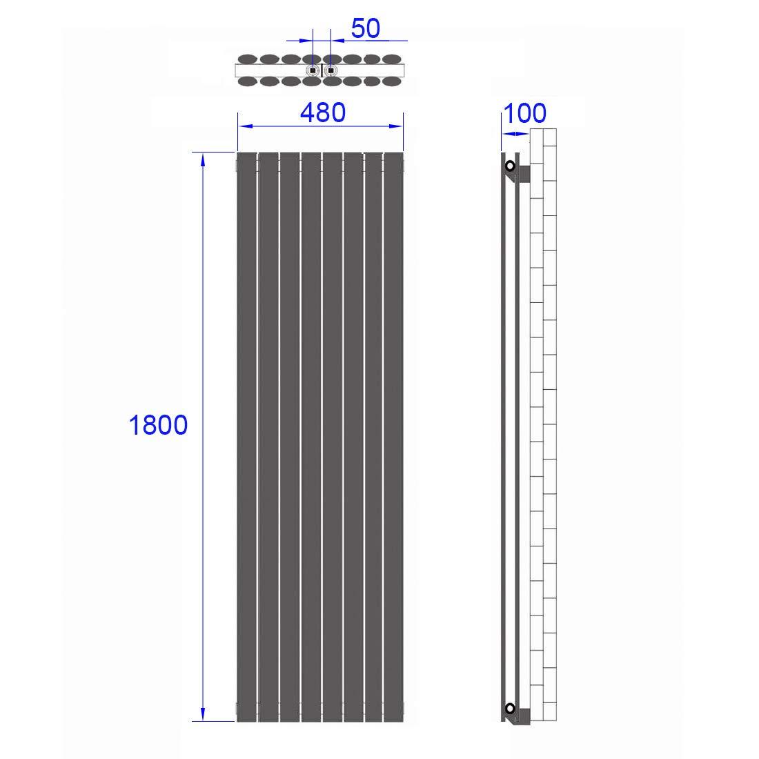 1881W Heizk/örper Design Paneelheizk/örper 600x1180mm Antrazit Heizung Horizontaler Seitenanschluss Doppellagig