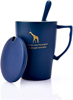 Xiaohonghong Scrub Tazza Tazza Ceramica retrò Nordic Tazza da caffè Grande capacità Nero Acqua Vetro Blu