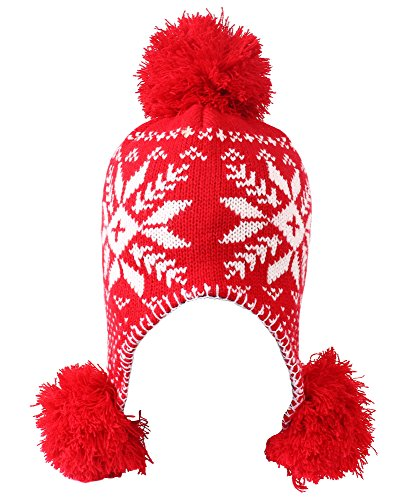 Women's Winter Snowflake Knit Beanie with Earflap and Pom Balls, Red/White