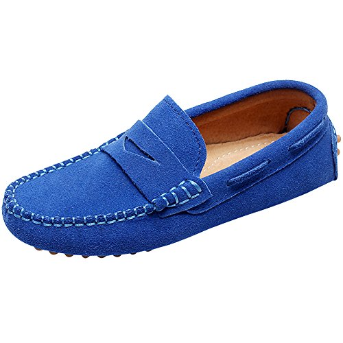 Shenn Boys' Cute Slip-on Royal Blue Suede Leather Loafers Shoes S8884 US9.5 - Classic Suede Loafers