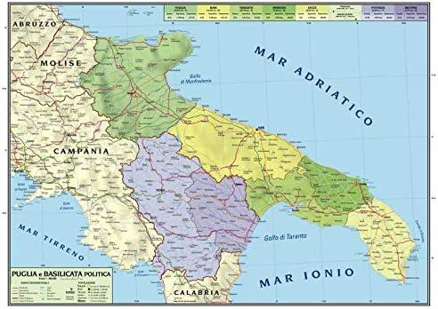 Cartina Puglia Fisica E Politica.Carta Geografica Murale Regionale Puglia Basilicata 100x140 Bifacciale Fisica E Politica Amazon It Cancelleria E Prodotti Per Ufficio