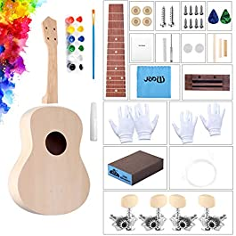 DIY Ukulele Kit with Glue Paint Set Installation Tools for Kids, Wooden Small Hawaiian Guitar Ukalalee for Students…