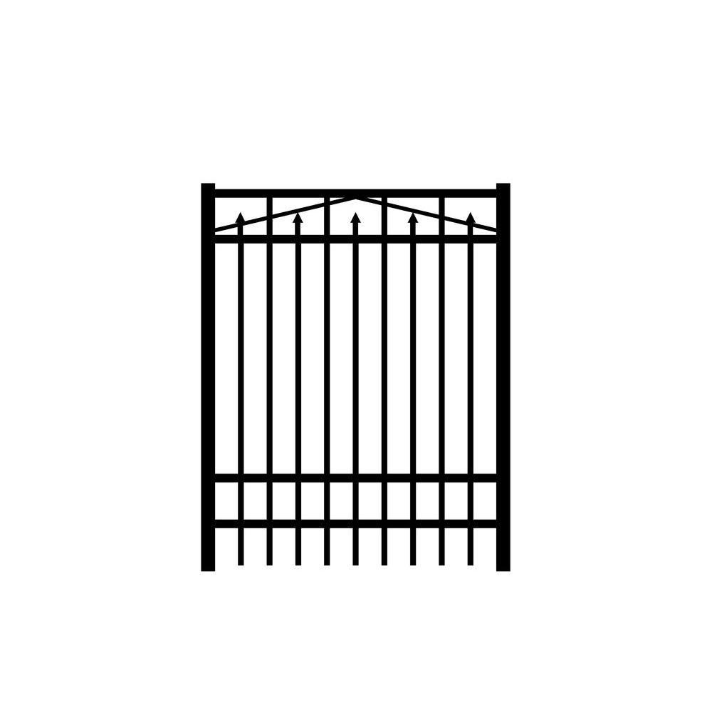 Adams 4 ft. x 6 ft. Black Aluminum Single Walk Gate