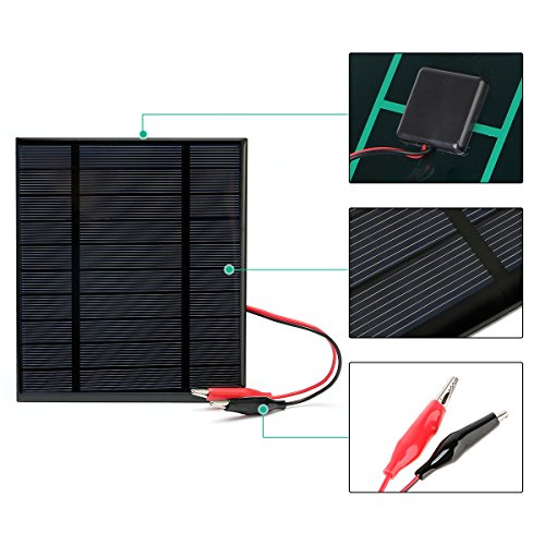 MOHOO 2.5W 5V/500mAh Mini Encapsulated Solar Cell Epoxy Solar Panel DIY Battery Charger Kit for Battery Power 130x150mm (Solar Panel Only)
