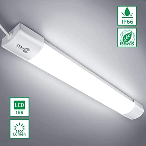Öuesen Tubo de luz LED 2ft 60CM, Luces de techo 18W IP66 ...