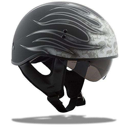 G-Max GM65 Naked Skull Flame Helmet Skull Flame Flat Black/Dark Silver (Silver, X-Large) (Helmet Silver Flame Half)