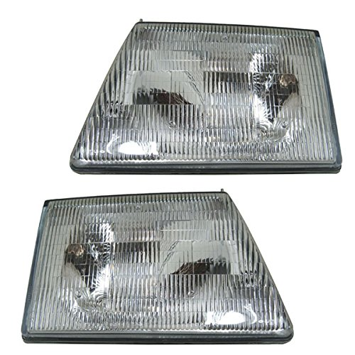 95 Van E-350 Ford (92-96 E-Series Van Headlight Headlamp Head Light Lamp Left & Right Side SET PAIR)
