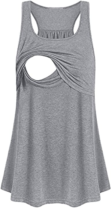 Ropa Embarazadas Camiseta Premama Lactancia Camisa de Maternidad Suelta cómoda Pull-up de enfermería sin Mangas Chaleco Lactancia Materna LiNaoNa