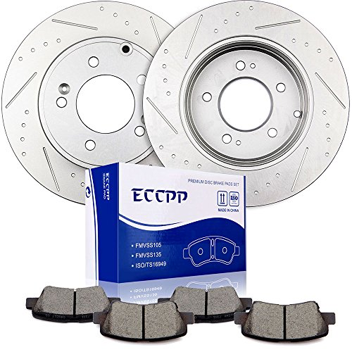 Brake Kits,ECCPP 2pcs Rear Discs Brake Rotors and 4pcs Ceramic Disc Brake Pads Set for 13 Kia Optima 11 12 13 17 Hyundai Sonata 12 13 16 Hyundai Azera 16 Kia Cadenza