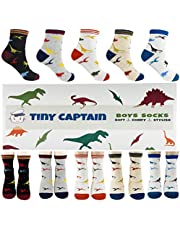 Boys Dinosaur Socks For 4-7 Year Old Best Age 4 Boy Cotton Sock 5 Pack Set From Tiny Captain (Black, White, Grey