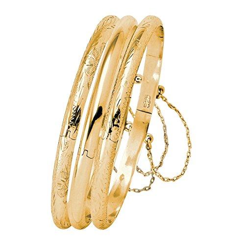 18k Gold over .925 Silver 3-Piece Set of Etched and Polished Bangle Bracelets