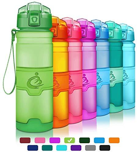 Grsta Sport Plastic Water Bottle 1L/17oz/400ml BPA Free & Eco-Friendly Tritan Co-Polyester Plastic-Flip Lid, Reusable Drinks Bottle,Leak-Proof Workout Bottle, for Kids, Gym, Yoga, Running and Campin