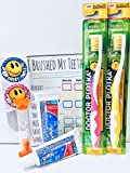 Doctor Plotka's Mouthwatchers Antimicrobial Floss Bristle Silver Toothbrush, Check Card, and Timer, Children's Gift Pack