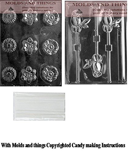 LONG STEM ROSE LOLLY chocolate candy mold, Flower Soap Assorted Chocolate Candy Mold With Copywrited Candy Making Instruction (Assorted Stem Long Roses)