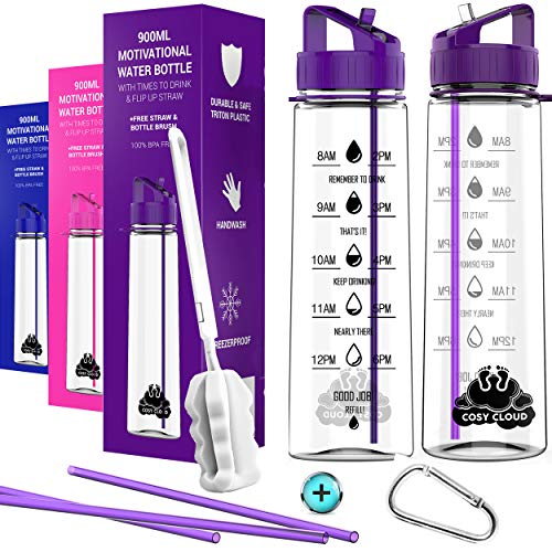 Water bottle with straw – Motivational water bottles with times to drink; time markings measurements for Sports Gym Office – BPA free leak proof reusable Tritan plastic + Extra Straws + Cleaning brush
