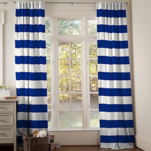 Carousel Designs Ocean Blue Horizontal Stripe Drape Panel 96-Inch Length Standard Lining 42-Inch Width by Carousel Designs