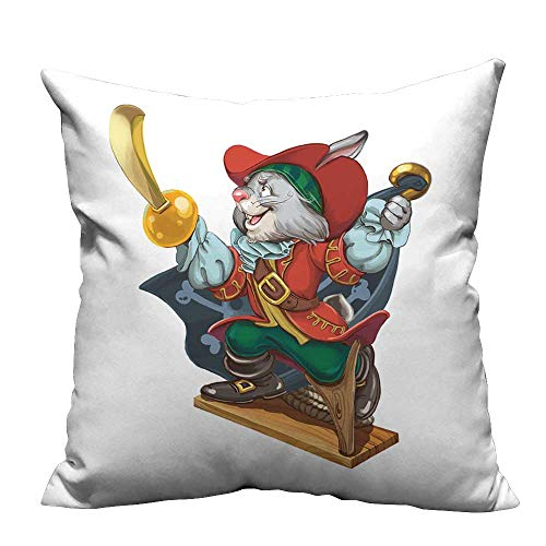 YouXianHome Throw Pillow Cover for Sofa Cartoon Hare Pirate with a Saber in one Hand and a Hook in Another Calls for Card Textile Crafts (Double-Sided Printing) 31.5x31.5 -