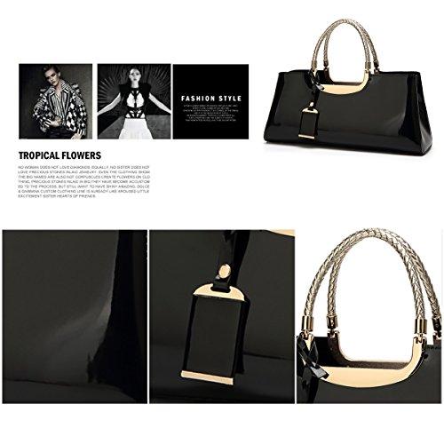 Woman Shoulder Leisure Fashion Wallet 2018 Leather New Retro Bright Black Bag Handbag Patent Sdinaz Messenger fAvYqq