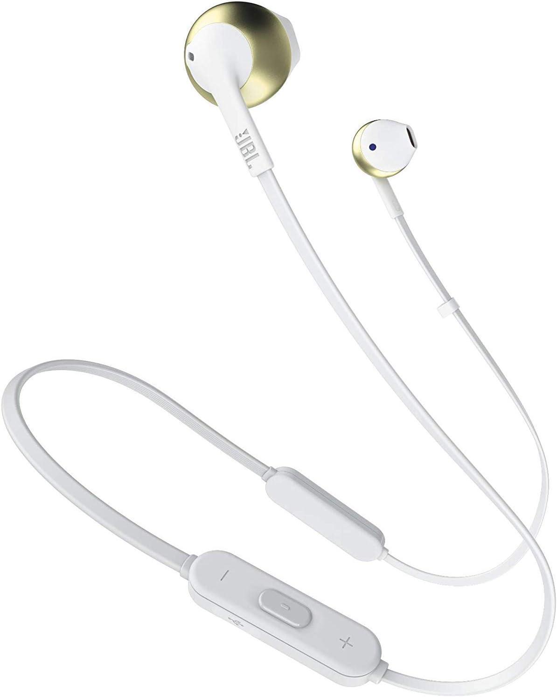 JBL Tune 205BT - Auriculares Inalámbricos intraurales con micrófono y mando a distancia con 3 botones, función de manos libres y diseño ergonómico con cable sin enredos, champán