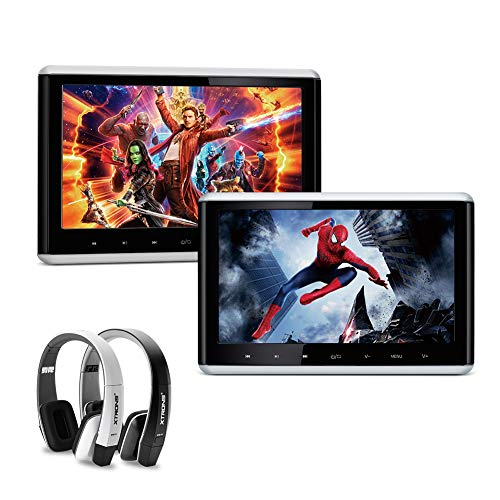 XTRONS 2 x 10.2 Inch Pair HD Digital TFT Screen HDMI Video Car Active Headrest DVD Player Headphones (HD1003S+DWH005+DWH006) ()