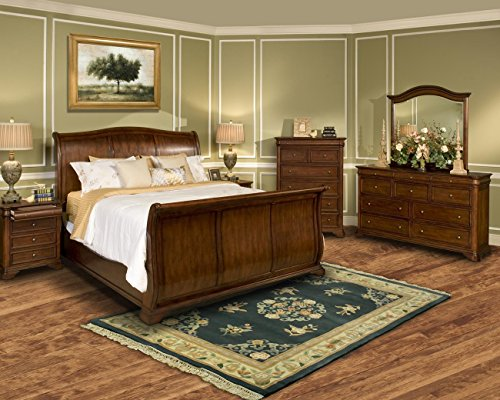 Wales Cal King Sleigh Bedroom 5 Piece Set with 2 Nightstands in Tobacco