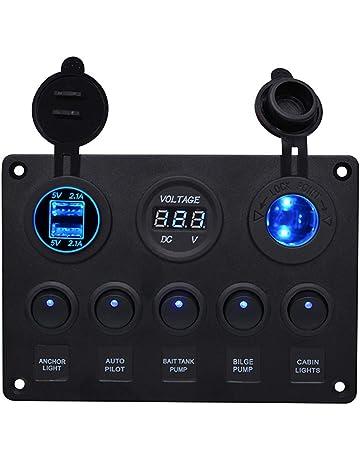 BOSTAR Panel de Control de 5 Interruptores con 2 USB y Voltímetro LED Basculante 12 V