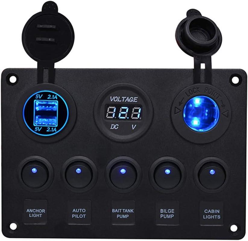 BOSTAR Panel de Control de 5 Interruptores con 2 USB y Voltímetro LED Basculante 12 V/24 V Coche Barco Marino