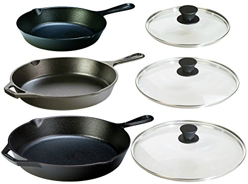 Lodge Seasoned Cast Iron 6 Piece Bundle. Three Sets of Cast Iron Skillets with Tempered Glass Lids. (8 Inch Set + 10.25 Inch Set + 12 Inch Set) by Lodge