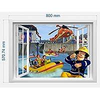 infans Brandweerman Sam muursticker 3D-raam, Kids slaapkamer jongens meisjes kunst wandschilderij behang grootte L 57 cm…