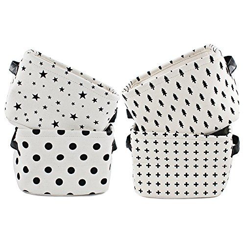 okdeals 100% Natural Linen & Cotton Fabric Storage Bins Storage Baskets Organizers Foldable Closet Organizer for Shelves & Desks Set of 4 ()