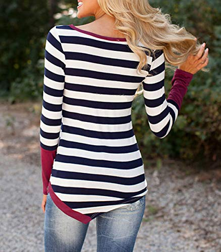 T Hauts Manches Tops et Rayure Shirts Femmes Shirts Slim Rouge Sweat Col pissure Tees Bleu Longues Printemps Blouse Rond Casual Jumpers Monika Automne Fashion xqCw5FfnW7