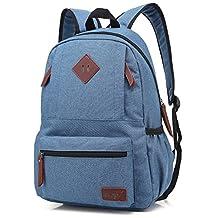 Mn&Sue Unisex Heritage Waterproof Canvas School Backpack Travel Luggage Daypack (Denim Blue)