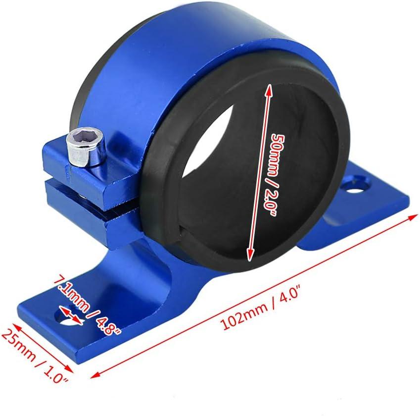 Blue Fuel Pump Bracket Aluminum Alloy 50mm Car Fuel Pump Mounting Bracket Single Filter Clamp Cradle