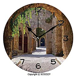 SCOCICI Round Wall Clock Ancient Italian Street in A Small Provincial Town of Tuscan Italy European 10 inch Morden Wall Clocks Silent Round Decorative Clock